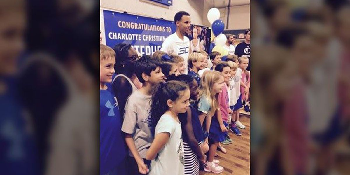 NBA MVP Steph Curry returns to Charlotte Christian and wows students