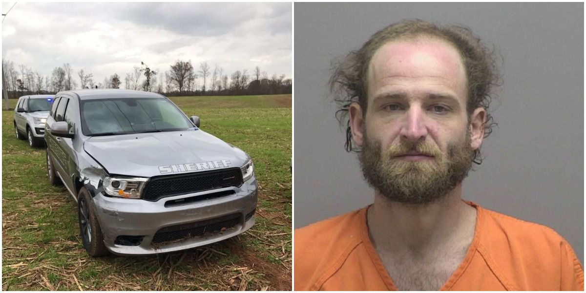 Man arrested, accused of stealing truck, ramming into police car